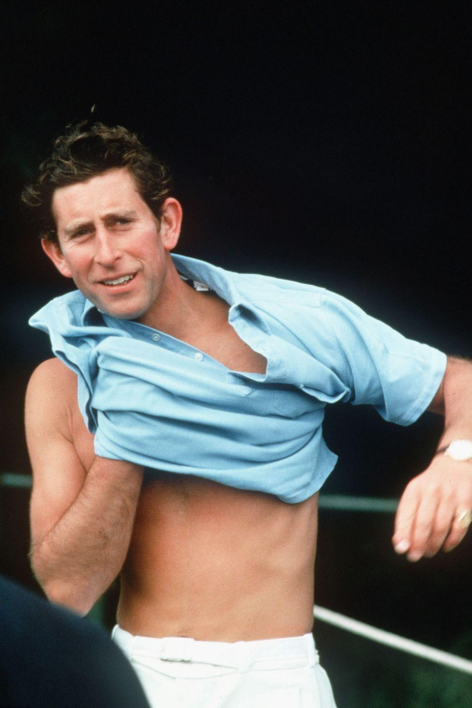 <p>Changing his clothes at Windsor Great Park. </p>