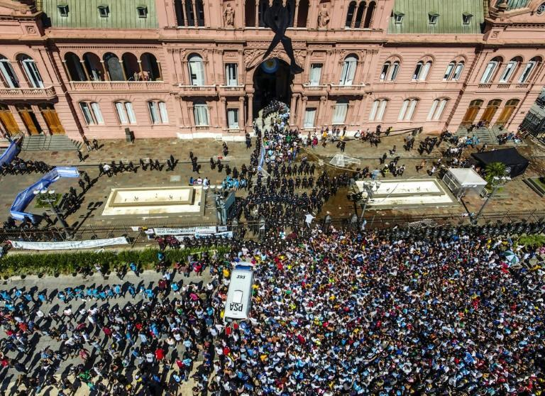 Tens of thousands of people queued to get a glimpse of Diego Maradona's coffin in the presidential palace in Buenos Aires