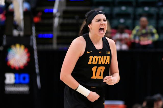 Iowa senior Megan Gustafson scored 23 points on Monday night to become just the fourth player in history to record 1,000 points in a single season. (Justin Casterline/Getty Images)