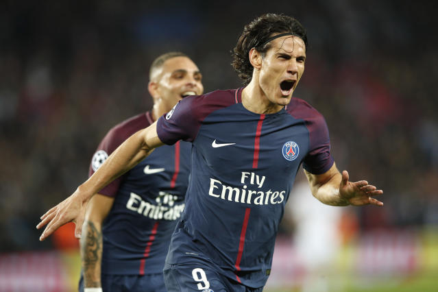 "<a class=""link rapid-noclick-resp"" href=""/soccer/players/edinson-cavani/"" data-ylk=""slk:Edinson Cavani"">Edinson Cavani</a> and Paris Saint-Germain crushed Bayern Munich. What does that say about both clubs? (AP)"