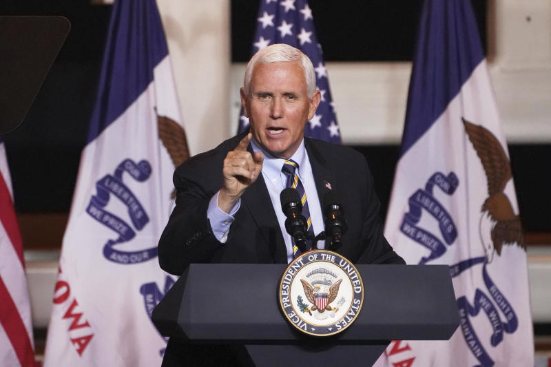 Vice President Mike Pence speaks during a Make America Great Again event in Carter Lake, Iowa, Thursday, October 1, 2020. / Credit: Nati Harnik / AP