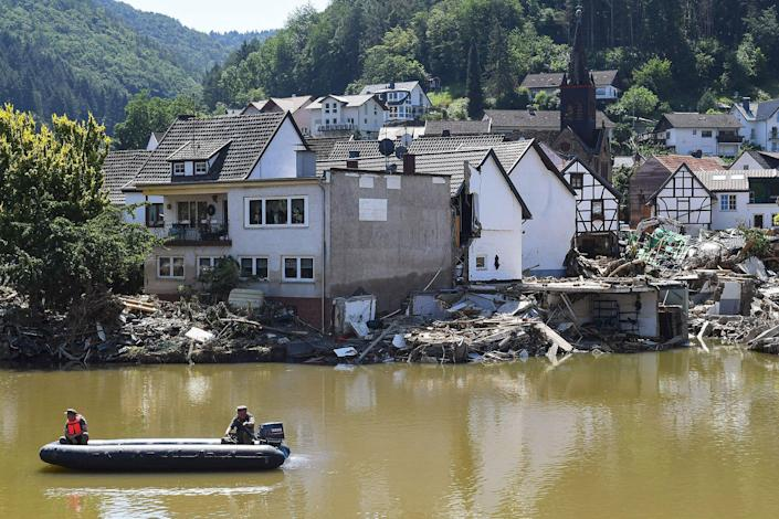 A boat on the Ahr river in Rech, Rhineland-Palatinate, western Germany