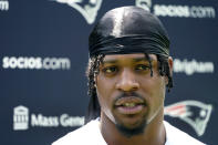 New England Patriots wide receiver N'Keal Harry speaks to media after an NFL football practice, Friday, July 30, 2021, in Foxborough, Mass. (AP Photo/Elise Amendola)