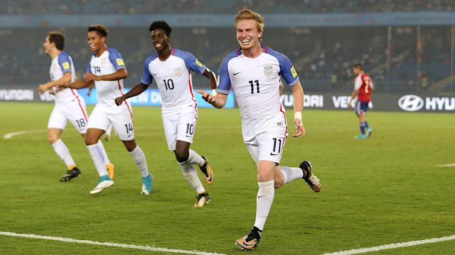 Andre Carleton (right) and Timothy Weah (second right) starred for the U.S. under-17s against Paraguay. (Getty)