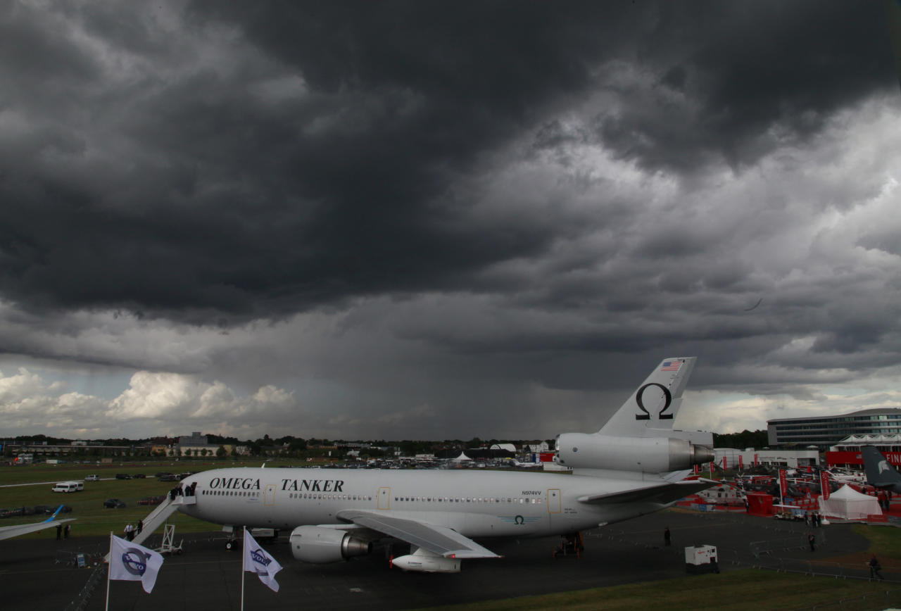 The Omega Tanker aircraft is seen parked on the tarmac on the third day at the Farnborough International Airshow, in Farnborough, England, Wednesday, July 11, 2012. (AP Photo/Lefteris Pitarakis)