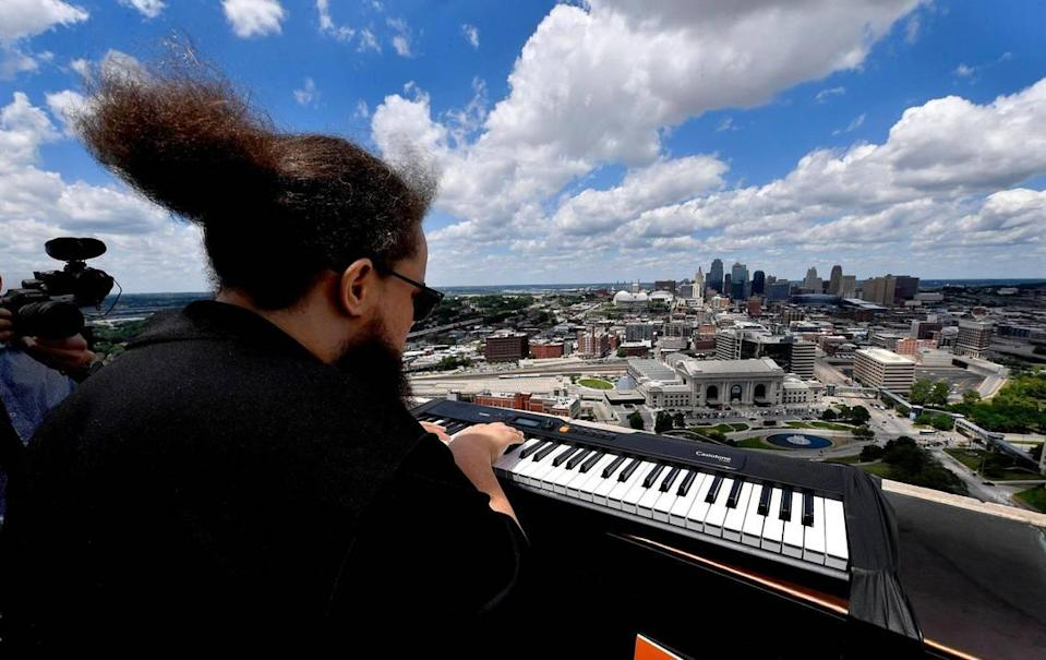 As part of Make Music Kansas City, a celebration of music, Desmond Mason of Kansas City, performed on his Casio keyboard atop the Liberty Memorial at the National World War I Museum on Monday in Kansas City. With over 70 free musical performances and events held city-wide, Kansas City made its' debut on Make Music Day, an event held on the same day in more than 1,000 cities in 120 countries. The event originally launched in 1982 in France as the Fête de la Musique.