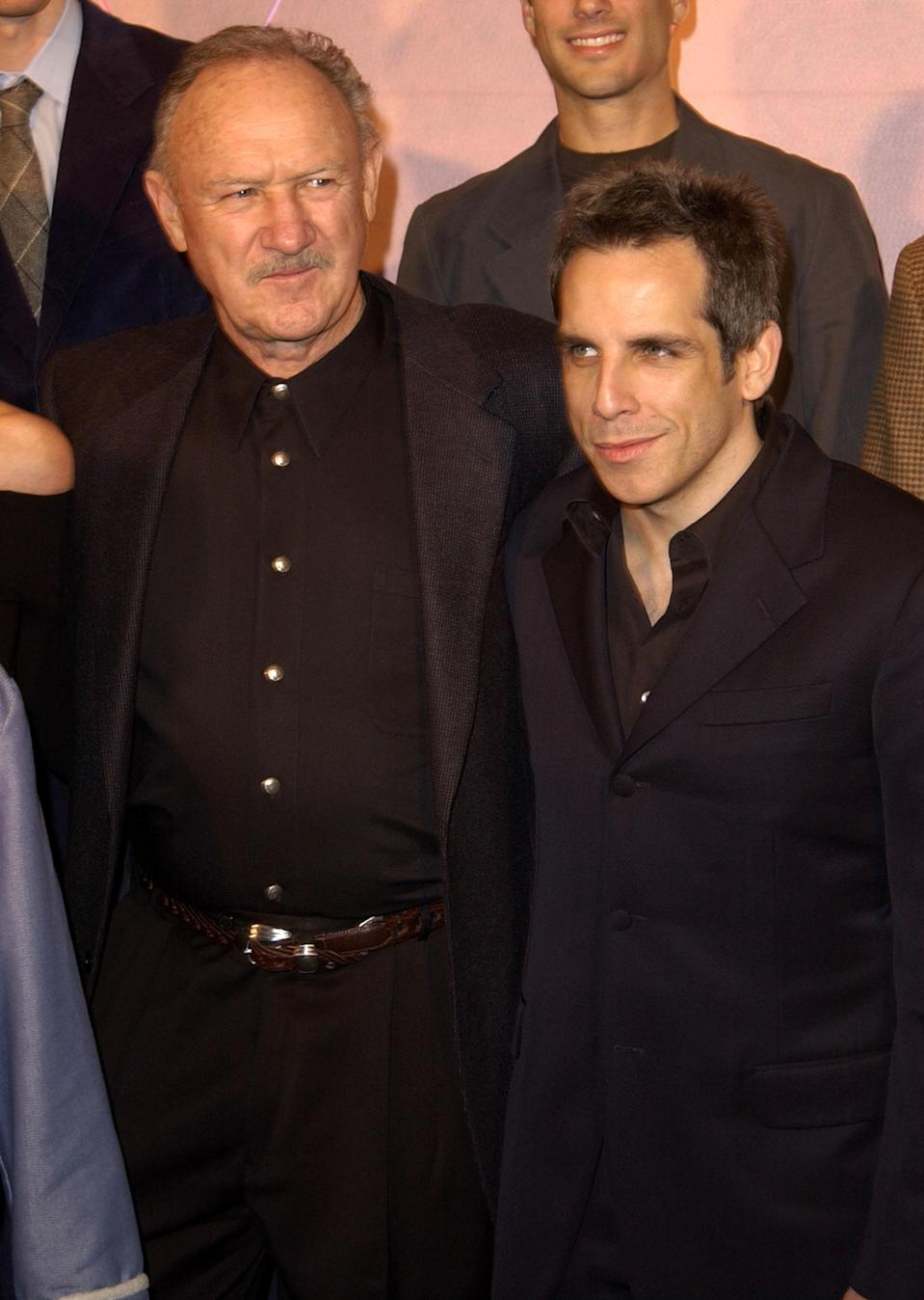 """Gene Hackman & Ben Stiller during """"The Royal Tenenbaums"""" Los Angeles Premiere at El Capitan Theatre in Hollywood, California, United States. (Photo by SGranitz/WireImage)"""