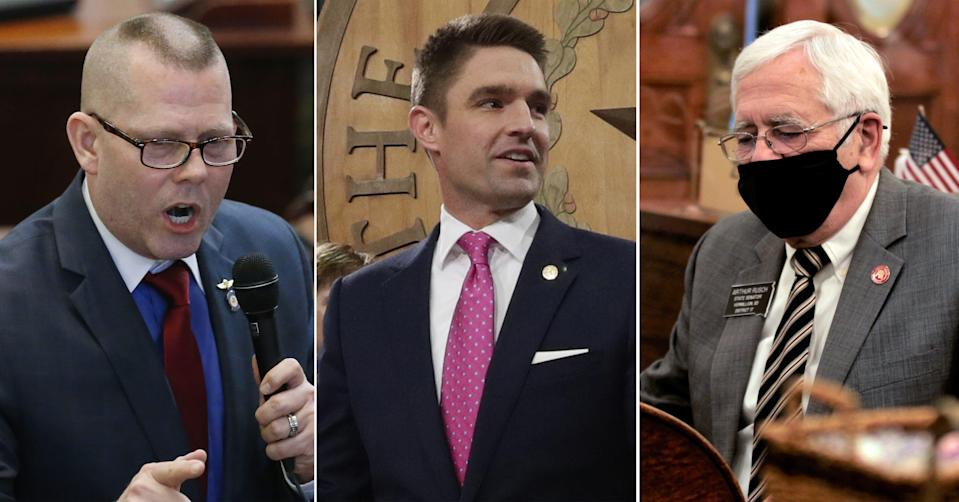 From left, Oklahoma state Rep. Kevin McDugle, Texas state Rep. Jeff Leach and South Dakota state Sen. Arthur Rusch have filed bills to reform the death penalty in their states.