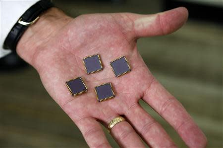 Craig Healy, the U.S. government's chief law enforcement officer for counter-proliferation, holds seized radiation hardened integrated circuits in his office at the Export Enforcement Coordination Center, a joint Homeland Security/FBI/Commerce operation in Northern Virginia November 21, 2013. REUTERS/Kevin Lamarque