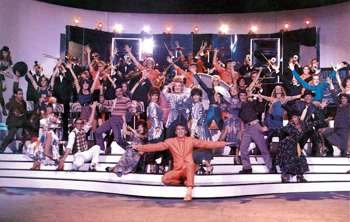 The Tubes on the set of 'Xanadu.' (Photo: Universal/Everett Collection)