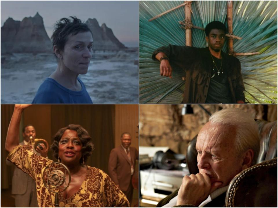 <p>Frances McDormand, Chadwick Boseman, Viola Davis and Anthony Hopkins are all in this year's Oscars race</p> (Searchlight Pictures / Netflix / Lionsgate)