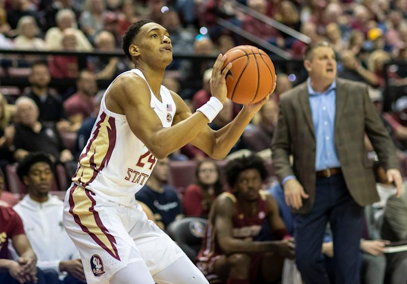 Florida State guard Devin Vassell lines up his 3-point shot Saturday, March 7, 2020.