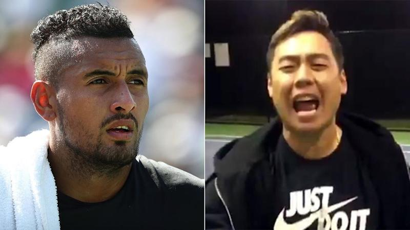 Kyrgios and his Twitter troll @asiangamerbro. Pic: Twitter