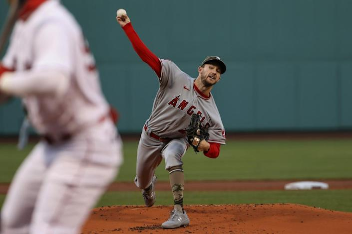Angels pitcher Griffin Canning delivers against the Boston Red Sox during the first inning May 14, 2021.