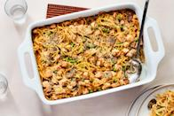 """Toss leftover turkey and peas (or green beans! or chopped Brussels sprouts!) with spaghetti and creamy mushrooms for this classic, day-after-Thanksgiving baked pasta. <a href=""""https://www.epicurious.com/recipes/food/views/turkey-tetrazzini-13377?mbid=synd_yahoo_rss"""" rel=""""nofollow noopener"""" target=""""_blank"""" data-ylk=""""slk:See recipe."""" class=""""link rapid-noclick-resp"""">See recipe.</a>"""