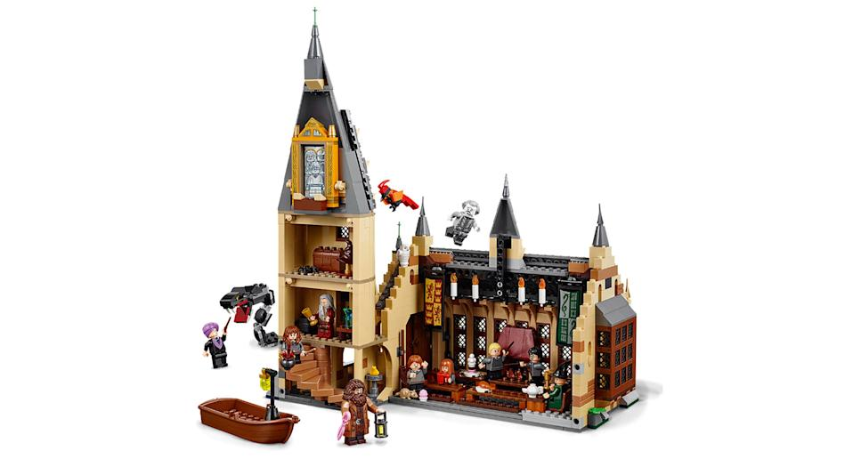 "This Lego replica of <em>Harry Potter</em>'s Hogwarts Great Hall is the ultimate Potterheads dream. Suitable for ages 9+. <a href=""https://www.amazon.co.uk/LEGO-75954-Hogwarts-Wizzarding-Building/dp/B0792RDN2V?tag=yahooukedit-21"" rel=""nofollow noopener"" target=""_blank"" data-ylk=""slk:Shop here."" class=""link rapid-noclick-resp"">Shop here.</a>"
