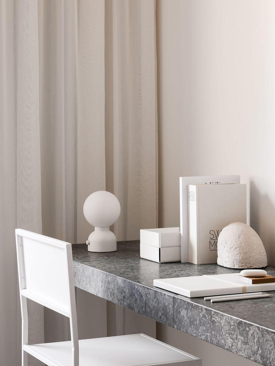 """<p> Designed by Form Us With Love for lighting brand Ateljé Lyktan, the 'Pluggie' table lamp is dimmable, portable and has two USB ports to charge devices from, making it an ideal desk companion. £129, <a href=""""https://www.ateljelyktan.se/en"""" rel=""""nofollow noopener"""" target=""""_blank"""" data-ylk=""""slk:ateljelyktan.se/en"""" class=""""link rapid-noclick-resp"""">ateljelyktan.se/en</a></p>"""