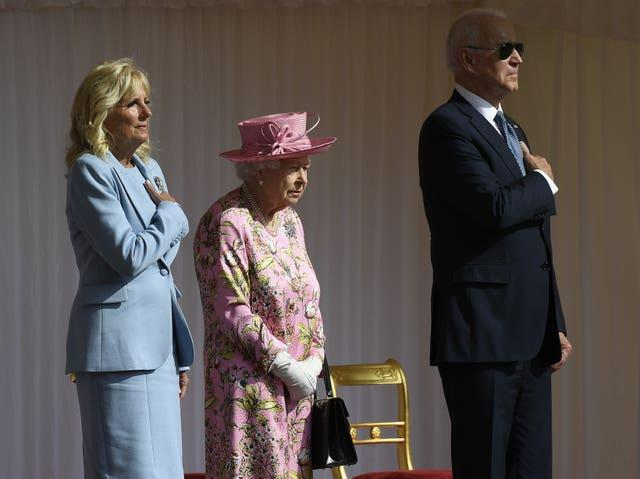 The Queen with US President Joe Biden and First Lady Jill Biden during their visit to Windsor Castle