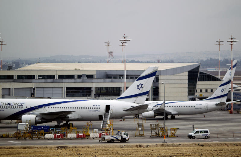 "Israeli airliner El Al planes parked at Ben Gurion airport near Tel Aviv, Israel, Sunday, April 21, 2013. Israel's three airlines went on strike Sunday over a proposed ""Open Skies"" deal with the European Union that union workers say jeopardizes their jobs and could even cause the local airline industry to collapse. (AP Photo/Ariel Schalit)"