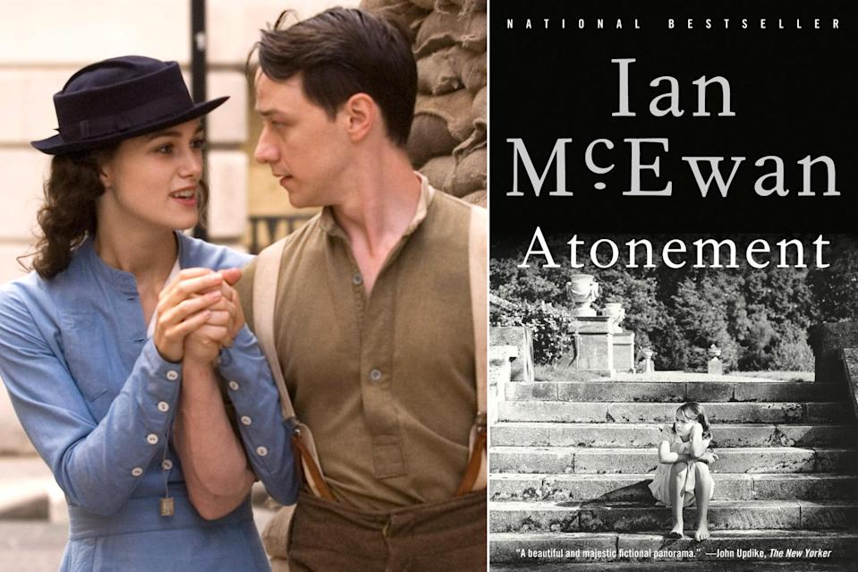 """<p><i>Atonement, </i>both the novel by <a href=""""https://ew.com/tag/ian-mcewan/"""" rel=""""nofollow noopener"""" target=""""_blank"""" data-ylk=""""slk:Ian McEwan"""" class=""""link rapid-noclick-resp"""">Ian McEwan</a> and the film by <a href=""""https://ew.com/tag/joe-wright/"""" rel=""""nofollow noopener"""" target=""""_blank"""" data-ylk=""""slk:Joe Wright"""" class=""""link rapid-noclick-resp"""">Joe Wright</a>, probes questions of guilt, redemption, and the narratives we spin to attempt to earn or bestow atonement. It circles around a forbidden romance between aristocratic Cecelia (<a href=""""https://ew.com/tag/keira-knightley/"""" rel=""""nofollow noopener"""" target=""""_blank"""" data-ylk=""""slk:Keira Knightley"""" class=""""link rapid-noclick-resp"""">Keira Knightley</a>) and housekeeper's son Robbie (<a href=""""https://ew.com/tag/james-mcavoy/"""" rel=""""nofollow noopener"""" target=""""_blank"""" data-ylk=""""slk:James McAvoy"""" class=""""link rapid-noclick-resp"""">James McAvoy</a>) that rends their life in two when a stolen moment between them is misinterpreted by younger sister Briony (<a href=""""https://ew.com/tag/saoirse-ronan/"""" rel=""""nofollow noopener"""" target=""""_blank"""" data-ylk=""""slk:Saoirse Ronan"""" class=""""link rapid-noclick-resp"""">Saoirse Ronan</a>). As World War II erupts, they all must face what they are to each other and how to recover from this searing lie. Wright's film adapts an already exquisite novel with an almost mystical sleight of hand that breathes the literary into the visual, from its typewriter-infused score to its devastating use of frame stories and unreliable narrators.</p>"""