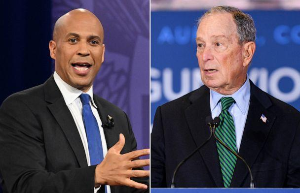 PHOTO: Cory Booker gestures as he speaks during a town hall devoted to LGBTQ issues hosted by CNN. | Mayor Michael Bloomberg speaks during an event to introduce his gun safety policy agenda at the Heritage Christian Center. (Getty Images)
