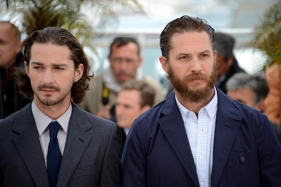 "CANNES, FRANCE - MAY 19:  (L-R) Actors Shia LaBeouf and Tom Hardy  attend the ""Lawless"" Photocall during the 65th Annual Cannes Film Festival at Palais des Festivals on May 19, 2012 in Cannes, France.  (Photo by Venturelli/WireImage)"