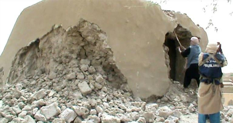 Destruction: A still from a video shows Islamist militants destroying one of Timbuktu's ancient shrines on July 1, 2012