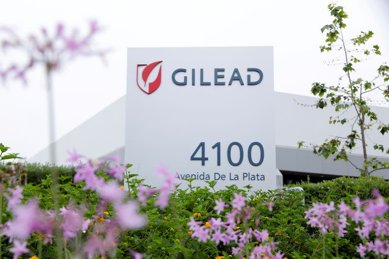FILE PHOTO: Gilead Sciences Inc pharmaceutical company is seen during the outbreak of the coronavirus disease (COVID-19), in California