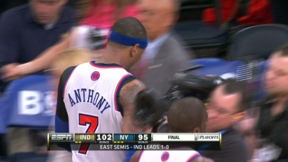 3 jokes about Carmelo Anthony colliding with a cameraman after Pacers take Game 1 (Video)