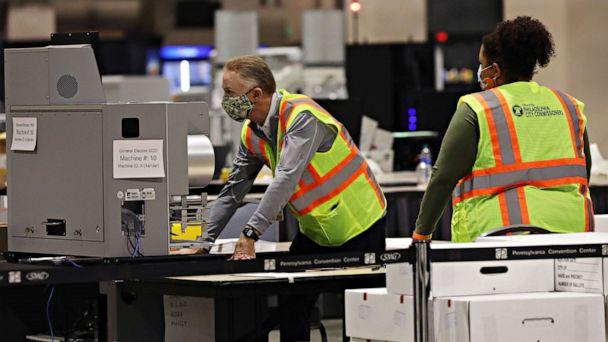 PHOTO: Election workers count ballots on Nov. 03, 2020, in Philadelphia, Pa. (Spencer Platt/Getty Images)