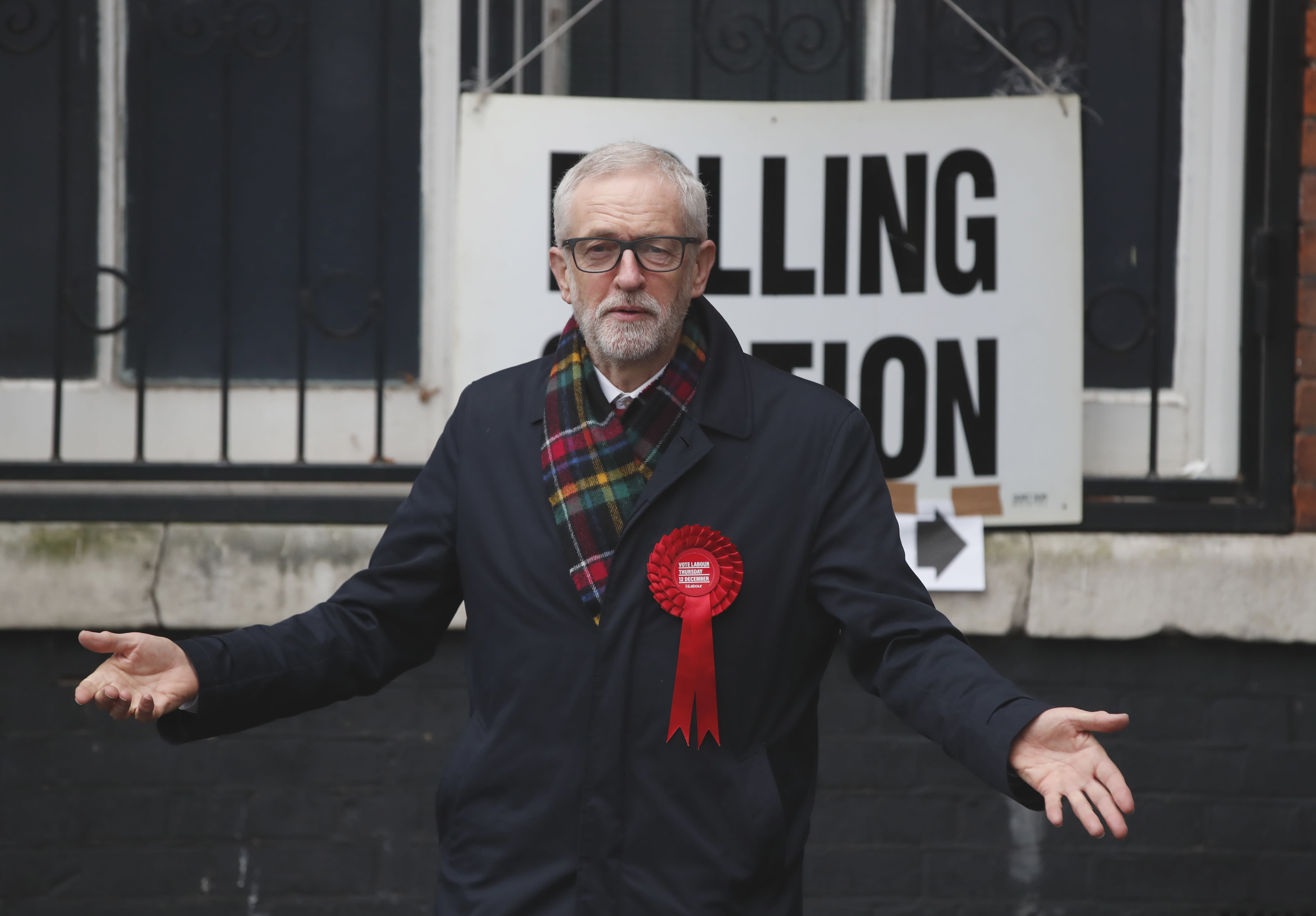 British opposition Labour Party leader Jeremy Corbyn earlier today. (AP Photo/Thanassis Stavrakis)