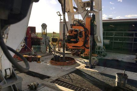 The Elevation Resources drilling rig is shown at the Permian Basin drilling site in Andrews County Texas
