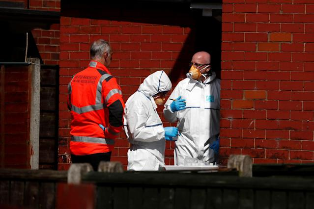 <p>Police investigators work at residential property in south Manchester, Britain on May 23, 2017. (Stefan Wermuth/Reuters) </p>