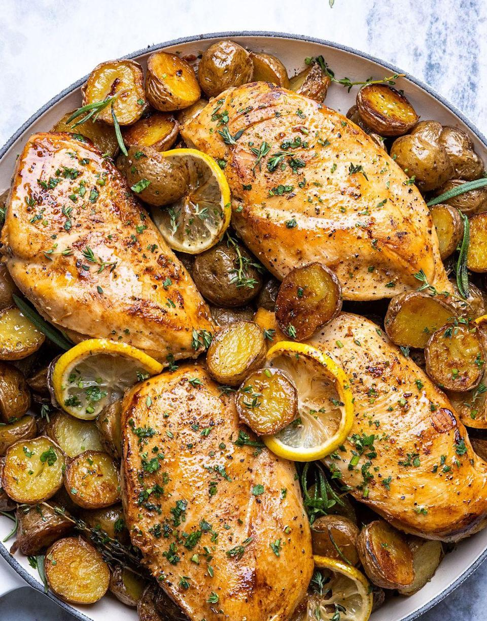 """<p>It's one of our favorite tricks at Delish: cooking all components of a dish—protein, carbs, vegetables—in a single skillet.</p><p>Get the recipe from <a href=""""https://www.delish.com/cooking/recipe-ideas/a37418665/skillet-chicken-and-potatoes-recipe/"""" rel=""""nofollow noopener"""" target=""""_blank"""" data-ylk=""""slk:Delish"""" class=""""link rapid-noclick-resp"""">Delish</a>.</p>"""