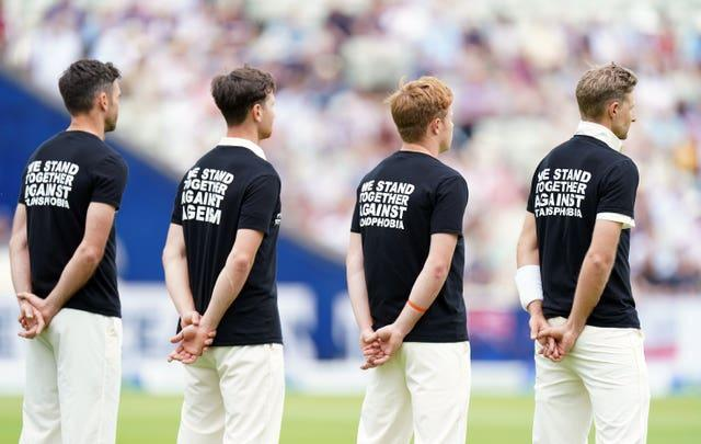 England players line up wearing t-shirts campaigning against discrimination ahead of the second Test against New Zealand