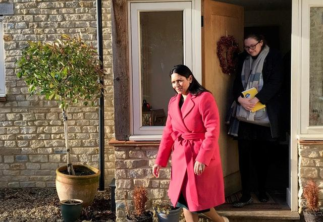 Home Secretary Priti Patel after a meeting with the family of Harry Dunn in north Oxfordshire