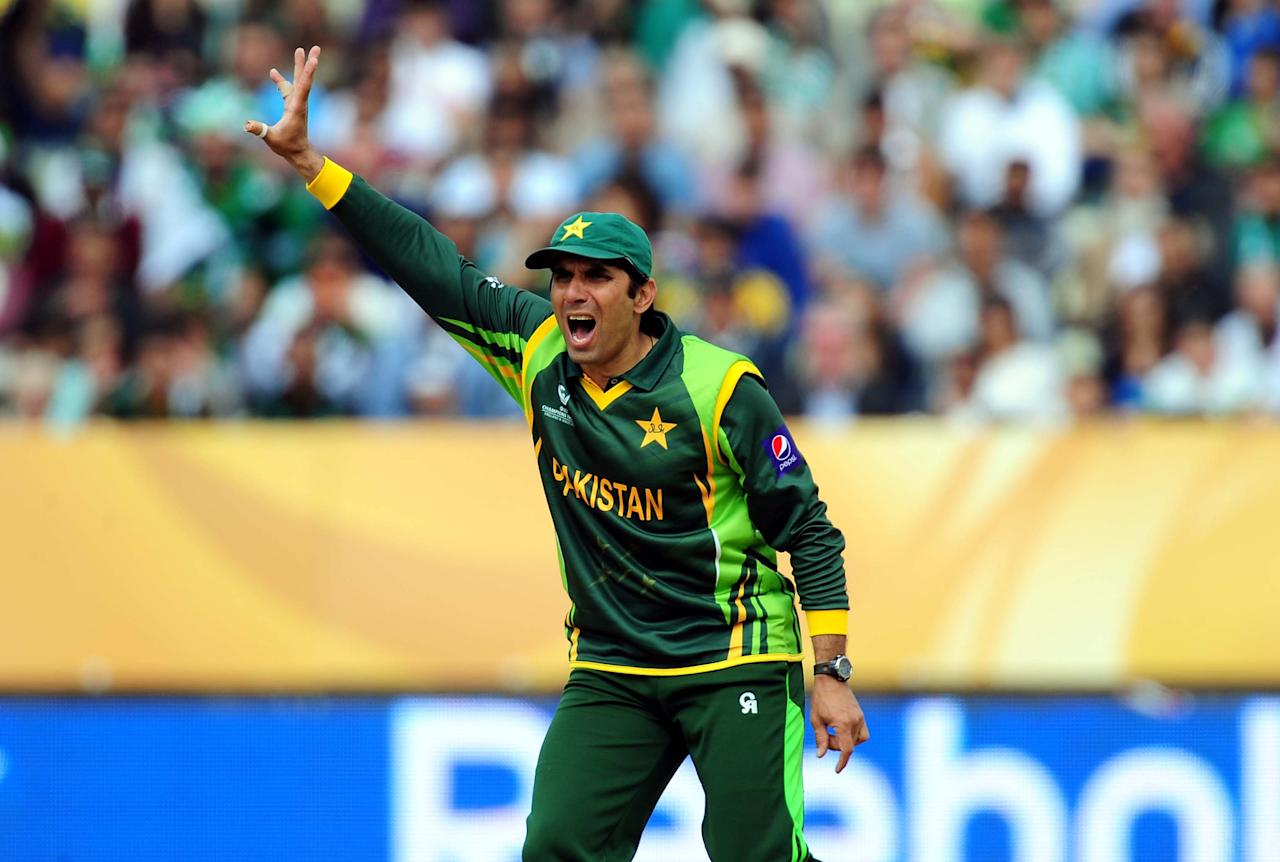 Pakistan's Misbah-ul-Haq during the ICC Champions Trophy match at Edgbaston, Birmingham.