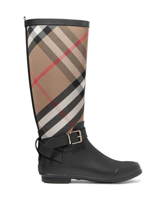 """<p>Checked cotton-canvas and rubber rain boots - £280</p><p><a class=""""body-btn-link"""" href=""""https://www.net-a-porter.com/gb/en/product/1131228/burberry/checked-cotton-canvas-and-rubber-rain-boots"""" target=""""_blank"""">SHOP NOW</a></p>"""