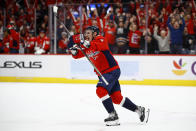 Washington Capitals' Dmitry Orlov, of Russia, celebrates after scoring in overtime of the team's NHL hockey game against the Tampa Bay Lightning, Friday, Nov. 29, 2019, in Washington. Washington won 4-3. (AP Photo/Patrick Semansky)