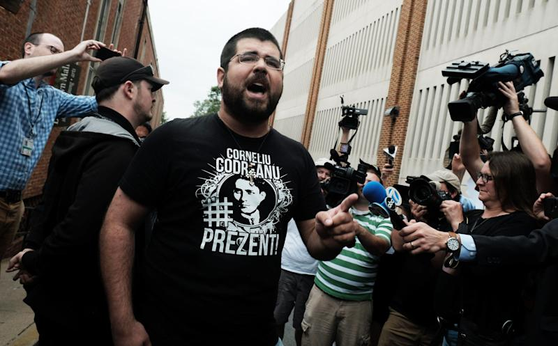 Matthew Heimbach, seen here after the white supremacist rally in Charlottesville, Virginia, is head of the Traditionalist Worker Party.