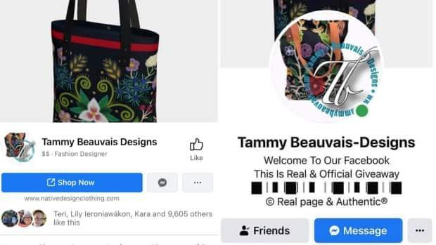 The real Tammy Beauvais Designs Facebook page on the left compared to the fake account created on the right.