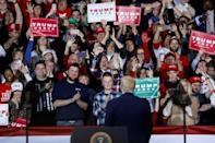 """The crowd in Battle Creek, Michigan, chanted """"We want Trump"""" before the US president even came out"""
