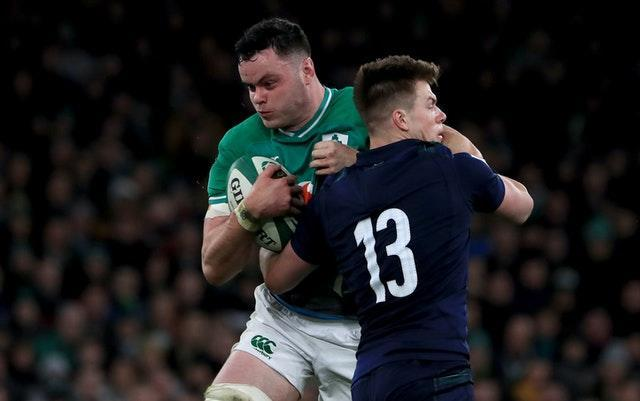 Ireland's James Ryan, left, will be without regular second row partner Iain Henderson for the remainder of the Six Nations