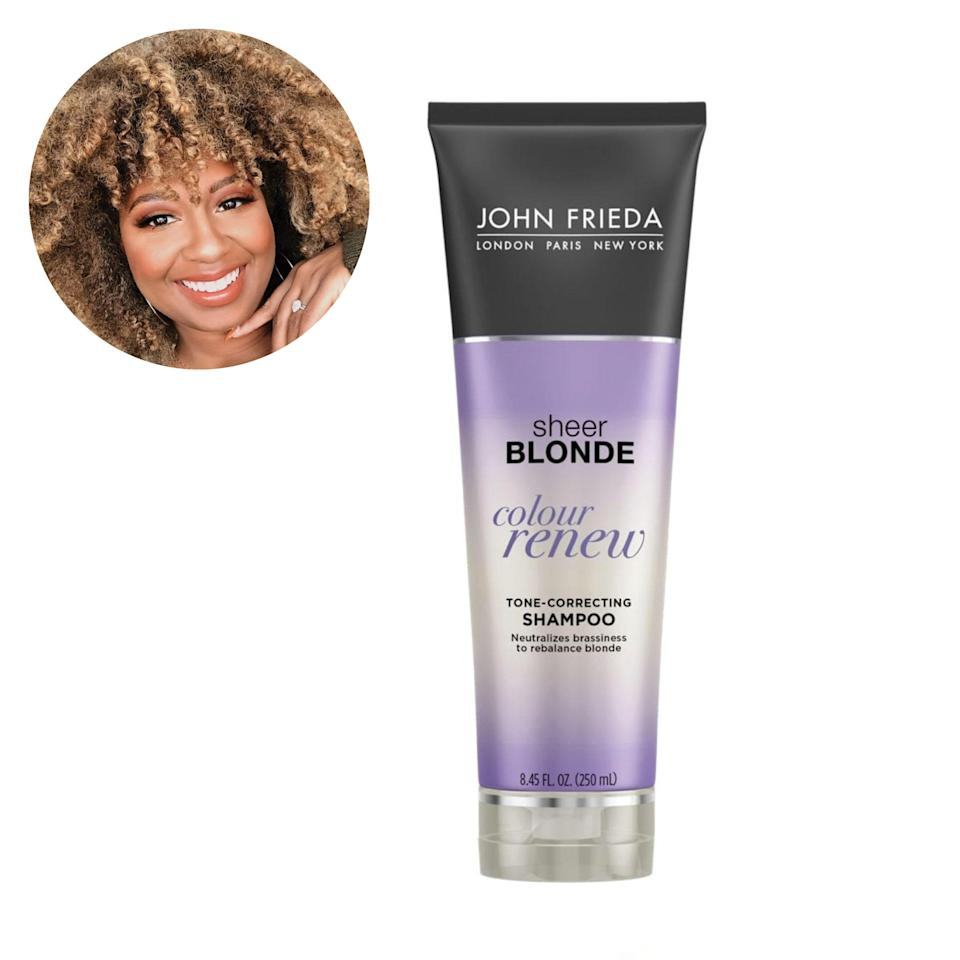 "I've had some variation of blonde hair on and off since middle school, and John Frieda's purple shampoos were some of the first I used to maintain my color and remove the brassy tones. I've used both the Sheer Blonde Color Renew and <a href=""https://shop-links.co/1735733452106682406"" rel=""nofollow noopener"" target=""_blank"" data-ylk=""slk:Violet Crush"" class=""link rapid-noclick-resp"">Violet Crush</a> over the years. —<em>Courtney Danielle Bryant, founder of</em> <a href=""https://www.instagram.com/curlsandcouture/?hl=en"" rel=""nofollow noopener"" target=""_blank"" data-ylk=""slk:Curls and Couture"" class=""link rapid-noclick-resp""><em>Curls and Couture</em></a> $11, Walmart. <a href=""https://www.walmart.com/ip/John-Frieda-Sheer-Blonde-Colour-Renew-Tone-Correcting-Shampoo-8-45-oz/46065055?"" rel=""nofollow noopener"" target=""_blank"" data-ylk=""slk:Get it now!"" class=""link rapid-noclick-resp"">Get it now!</a>"