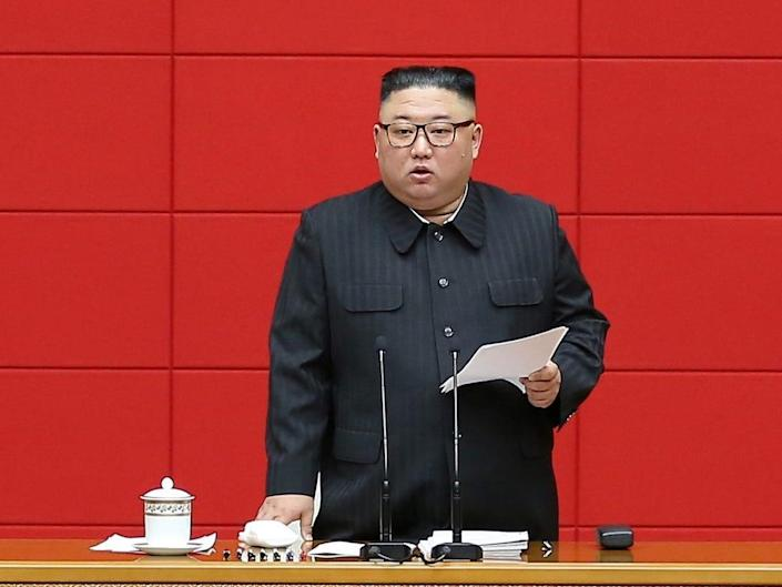 North Korea's leader Kim Jong Un speaks during the first short course for chief secretaries of the city and county Party committees in Pyongyang, North Korea, in this undated photo released on March 4, 2021 by North Korea's Korean Central News Agency (KCNA)