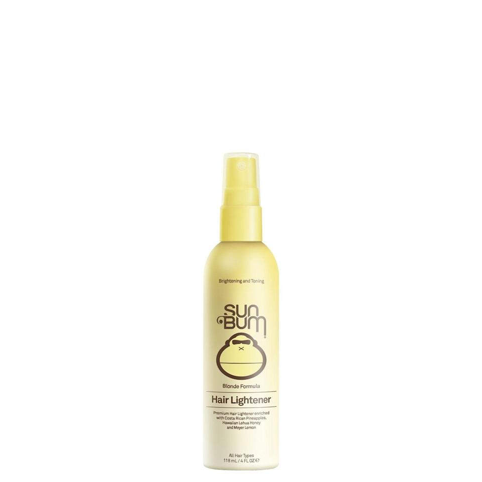 """<h3><strong>Sun Bum Hair Lightener</strong></h3> <br>You don't necessarily have to clock time in the sun when using a hair lightener made with hydrogen peroxide, like this leave-in version. """"Hydrogen peroxide will react on its own with hair protein and color,"""" Romanowski says. """"But the presence of UV light from the sun will speed up the oxidation reaction,"""" and therefore its lightening effect.<br><br><strong>Sun Bum</strong> Blonde / Hair Lightener - 4oz, $, available at <a href=""""https://go.skimresources.com/?id=30283X879131&url=https%3A%2F%2Fshop.trustthebum.com%2Fhair-care%2Fblonde-hair-lightener-4oz%2F"""" rel=""""nofollow noopener"""" target=""""_blank"""" data-ylk=""""slk:Sun Bum"""" class=""""link rapid-noclick-resp"""">Sun Bum</a><br>"""