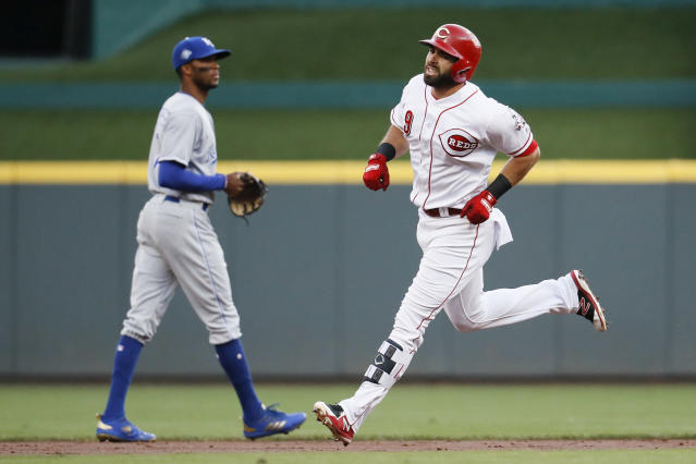 Cincinnati Reds' Jose Peraza runs the bases after hitting a solo home run off Kansas City Royals starting pitcher Heath Fillmyer during the first inning of a baseball game Wednesday, Sept. 26, 2018, in Cincinnati. (AP Photo/John Minchillo)