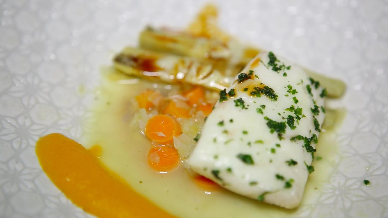It also includes line-caught striped sea bass with artichoke and orange glaze.