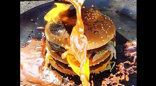 The burger that just wouldn't burn. Source: YouTube.