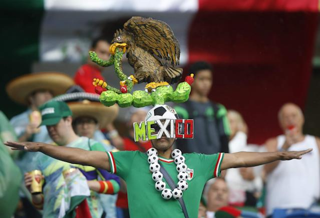 A Mexico fan waits for the start of the 2014 World Cup Group A soccer match between Mexico and Cameroon at the Dunas arena in Natal June 13, 2014. REUTERS/Toru Hanai (BRAZIL - Tags: SPORT SOCCER)